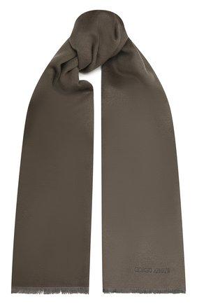 Мужской шелковый шарф GIORGIO ARMANI серого цвета, арт. 745021/1A121 | Фото 1