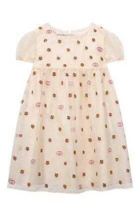 Женский шелковое платье GUCCI белого цвета, арт. 663600/ZAHBE   Фото 1