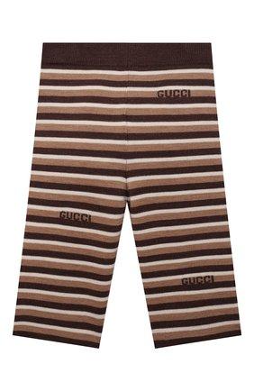 Детские шерстяные брюки GUCCI бежевого цвета, арт. 659223/XKBWL   Фото 2 (Материал внешний: Шерсть; Ростовка одежда: 12 мес   80 см, 18 мес   86 см, 24 мес   92 см, 36 мес   98 см, 9 мес   74 см)