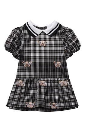Женский хлопковое платье BURBERRY черно-белого цвета, арт. 8041011 | Фото 1