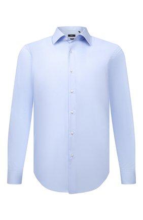 Мужская хлопковая сорочка BOSS голубого цвета, арт. 50460020 | Фото 1 (Длина (для топов): Стандартные; Материал внешний: Хлопок; Случай: Формальный; Воротник: Кент; Рукава: Длинные; Рубашки М: Regular Fit; Стили: Классический; Манжеты: На пуговицах; Принт: Однотонные)