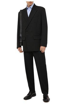 Мужская хлопковая сорочка BOSS голубого цвета, арт. 50460020 | Фото 2 (Длина (для топов): Стандартные; Материал внешний: Хлопок; Случай: Формальный; Воротник: Кент; Рукава: Длинные; Рубашки М: Regular Fit; Стили: Классический; Манжеты: На пуговицах; Принт: Однотонные)