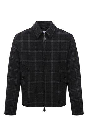 Мужская куртка из шерсти и кашемира BURBERRY темно-серого цвета, арт. 8041385 | Фото 1 (Материал внешний: Шерсть; Длина (верхняя одежда): Короткие; Кросс-КТ: Куртка; Рукава: Длинные; Материал подклада: Купро; Мужское Кросс-КТ: шерсть и кашемир; Стили: Кэжуэл)