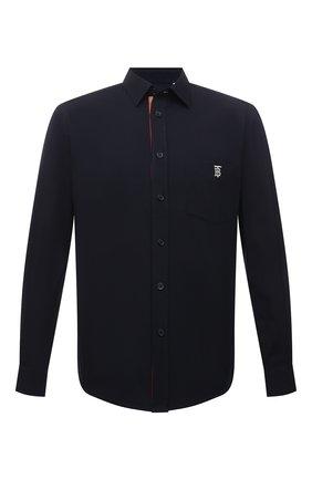 Мужская хлопковая рубашка BURBERRY темно-синего цвета, арт. 8043062   Фото 1