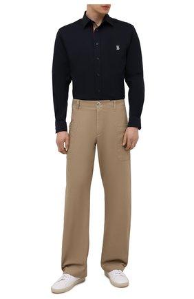 Мужская хлопковая рубашка BURBERRY темно-синего цвета, арт. 8043062   Фото 2