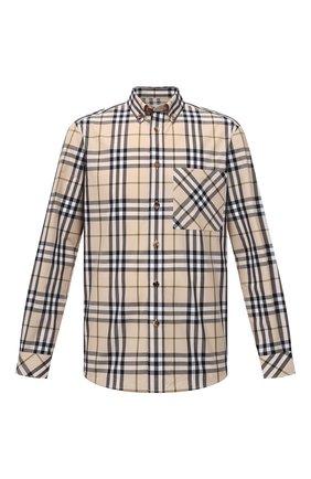 Мужская хлопковая рубашка BURBERRY бежевого цвета, арт. 8042838 | Фото 1