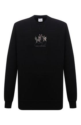 Мужской хлопковый свитшот BURBERRY черного цвета, арт. 8042689 | Фото 1