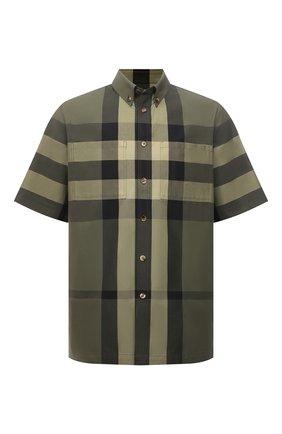 Мужская хлопковая рубашка BURBERRY зеленого цвета, арт. 8041541 | Фото 1
