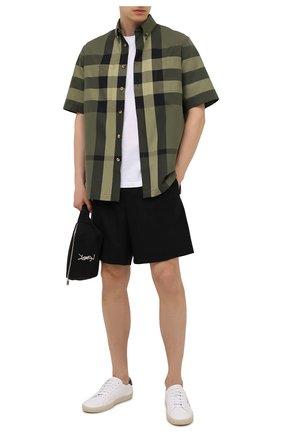Мужская хлопковая рубашка BURBERRY зеленого цвета, арт. 8041541 | Фото 2