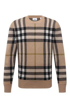 Мужской кашемировый свитер BURBERRY бежевого цвета, арт. 8041286 | Фото 1