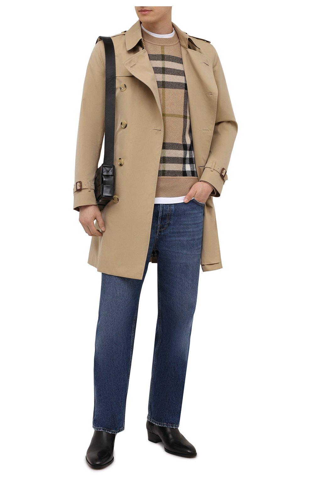 Мужской кашемировый свитер BURBERRY бежевого цвета, арт. 8041286 | Фото 2 (Материал внешний: Шерсть, Кашемир; Рукава: Длинные; Длина (для топов): Стандартные; Принт: С принтом; Мужское Кросс-КТ: Свитер-одежда; Стили: Кэжуэл)