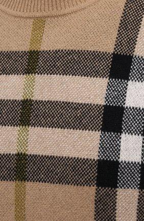 Мужской кашемировый свитер BURBERRY бежевого цвета, арт. 8041286 | Фото 5 (Материал внешний: Шерсть, Кашемир; Рукава: Длинные; Длина (для топов): Стандартные; Принт: С принтом; Мужское Кросс-КТ: Свитер-одежда; Стили: Кэжуэл)