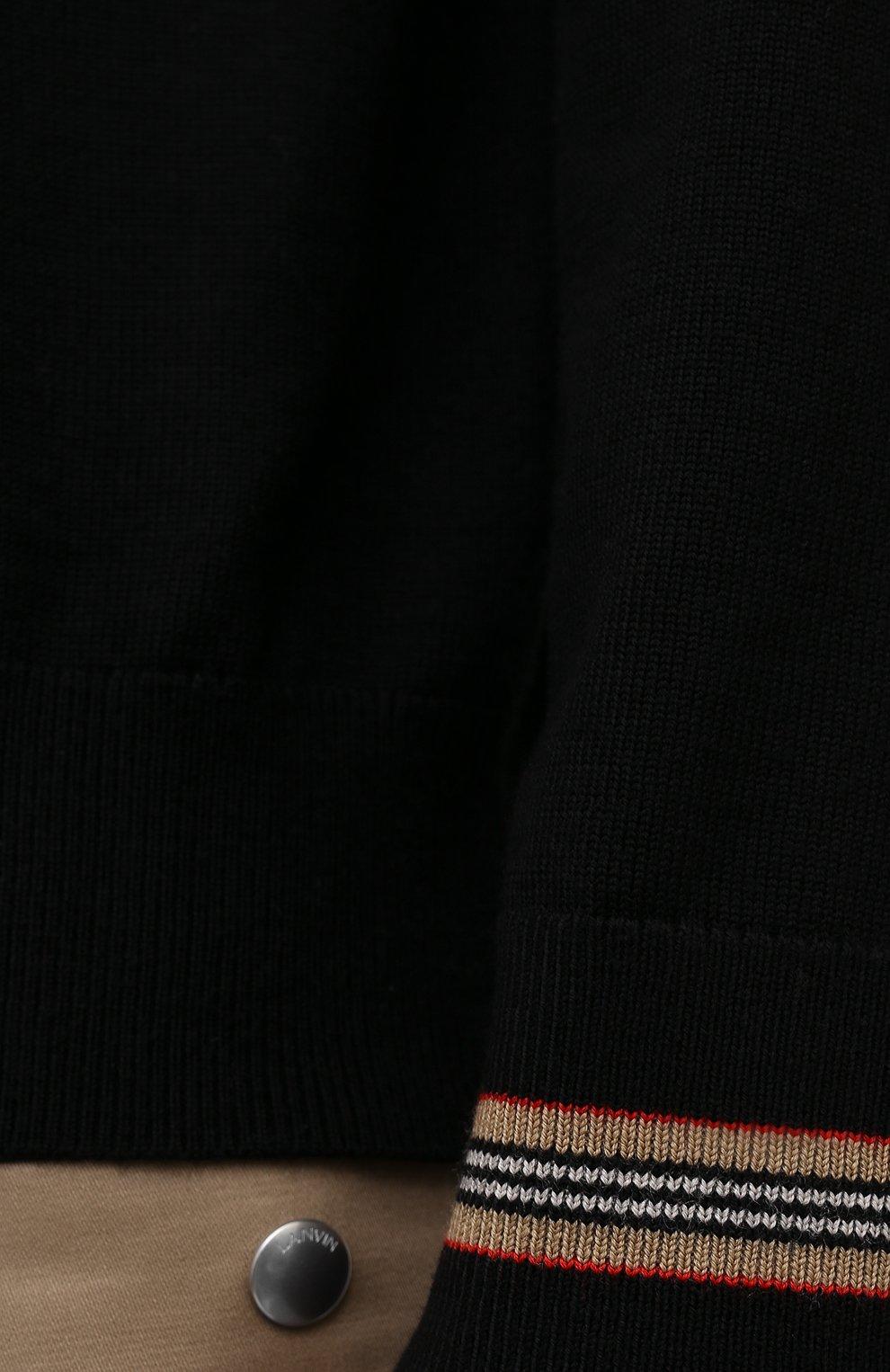 Мужской шерстяной джемпер BURBERRY черного цвета, арт. 8033201 | Фото 5 (Мужское Кросс-КТ: Джемперы; Материал внешний: Шерсть; Рукава: Длинные; Принт: Без принта; Длина (для топов): Стандартные; Вырез: Круглый; Стили: Кэжуэл)
