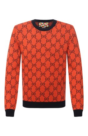 Мужской свитер из шерсти и хлопка GUCCI оранжевого цвета, арт. 661174/XKBXI | Фото 1 (Материал внешний: Хлопок, Шерсть; Длина (для топов): Стандартные; Рукава: Длинные; Стили: Ретро; Мужское Кросс-КТ: Свитер-одежда; Принт: С принтом)