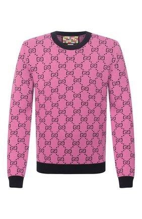 Мужской свитер из шерсти и хлопка GUCCI розового цвета, арт. 661174/XKBXI | Фото 1