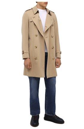 Мужские кожаные кеды HOGAN темно-синего цвета, арт. HXM3650AP71QCZ | Фото 2