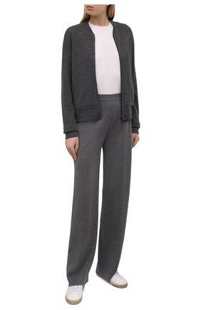 Женский шерстяной кардиган LORO PIANA темно-серого цвета, арт. FAL6899 | Фото 2 (Длина (для топов): Стандартные; Материал внешний: Шерсть; Женское Кросс-КТ: Кардиган-одежда; Рукава: Длинные; Стили: Кэжуэл)