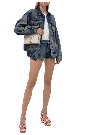 Женские текстильные босоножки bianca SAINT LAURENT красного цвета, арт. 659476/2W000 | Фото 2 (Материал внутренний: Натуральная кожа; Каблук тип: Устойчивый; Каблук высота: Высокий; Подошва: Платформа; Материал внешний: Текстиль)