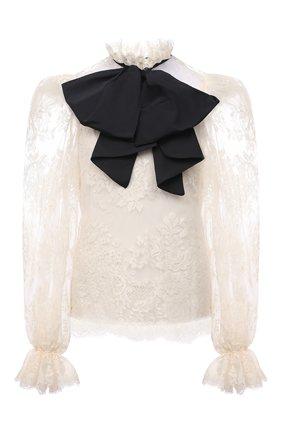 Женская блузка ZUHAIR MURAD кремвого цвета, арт. BLS21036/LABL011   Фото 1 (Длина (для топов): Стандартные; Материал внешний: Хлопок, Синтетический материал; Принт: Без принта; Материал подклада: Шелк; Женское Кросс-КТ: Блуза-одежда; Рукава: Длинные; Стили: Гламурный)