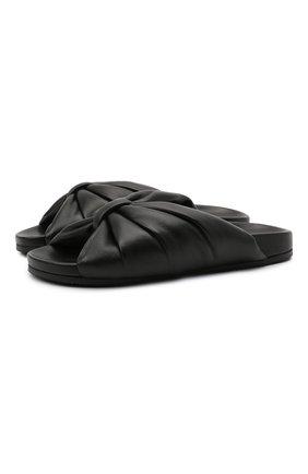 Женские кожаные шлепанцы BALENCIAGA черного цвета, арт. 653904/WA2M3 | Фото 1
