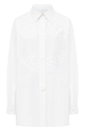 Женская хлопковая рубашка BURBERRY белого цвета, арт. 8043169 | Фото 1