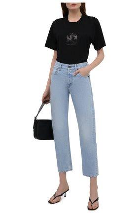 Женская хлопковая футболка BURBERRY черного цвета, арт. 8042882 | Фото 2