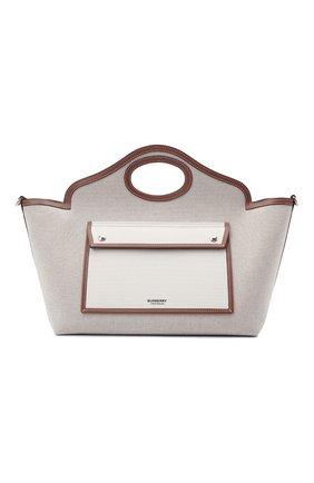 Женский сумка-тоут pocket small BURBERRY светло-бежевого цвета, арт. 8041803   Фото 1 (Сумки-технические: Сумки-шопперы; Размер: small; Материал: Текстиль; Ошибки технического описания: Нет ширины)