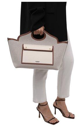 Женский сумка-тоут pocket small BURBERRY светло-бежевого цвета, арт. 8041803   Фото 2 (Сумки-технические: Сумки-шопперы; Размер: small; Материал: Текстиль; Ошибки технического описания: Нет ширины)