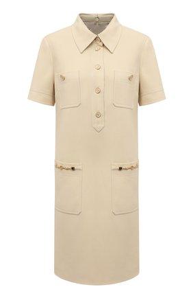 Женское платье из шелка и шерсти GUCCI светло-бежевого цвета, арт. 661672/ZAD88 | Фото 1 (Материал внешний: Шерсть, Шелк; Случай: Повседневный; Рукава: Короткие; Длина Ж (юбки, платья, шорты): Мини; Материал подклада: Синтетический материал; Женское Кросс-КТ: Платье-одежда; Стили: Гламурный)