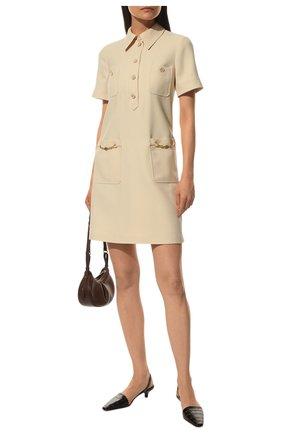 Женское платье из шелка и шерсти GUCCI светло-бежевого цвета, арт. 661672/ZAD88 | Фото 2 (Материал внешний: Шерсть, Шелк; Случай: Повседневный; Рукава: Короткие; Длина Ж (юбки, платья, шорты): Мини; Материал подклада: Синтетический материал; Женское Кросс-КТ: Платье-одежда; Стили: Гламурный)