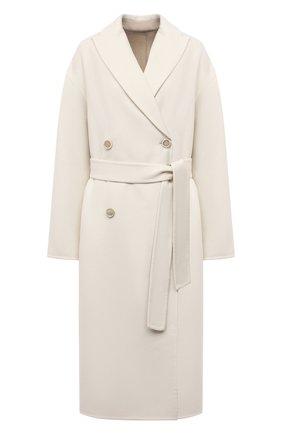 Женское кашемировое пальто BRUNELLO CUCINELLI кремвого цвета, арт. ML4549680P | Фото 1 (Материал внешний: Шерсть, Кашемир; Стили: Кэжуэл; Рукава: Длинные; 1-2-бортные: Двубортные; Длина (верхняя одежда): Длинные)