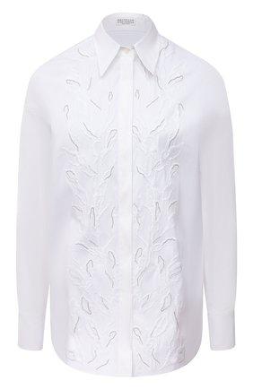 Женская хлопковая рубашка BRUNELLO CUCINELLI белого цвета, арт. MP091NS206 | Фото 1 (Материал внешний: Хлопок; Принт: Без принта; Женское Кросс-КТ: Рубашка-одежда; Рукава: Длинные; Стили: Кэжуэл; Длина (для топов): Удлиненные)