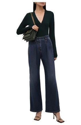 Женские джинсы BRUNELLO CUCINELLI темно-синего цвета, арт. MH186P5685 | Фото 2 (Материал внешний: Хлопок; Длина (брюки, джинсы): Стандартные; Стили: Кэжуэл; Кросс-КТ: Деним)