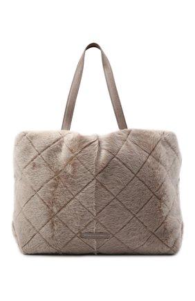 Женский сумка-шопер BRUNELLO CUCINELLI бежевого цвета, арт. MBUMD2311   Фото 1 (Материал: Натуральный мех; Сумки-технические: Сумки-шопперы; Размер: large)