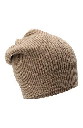 Женская шапка из кашемира и шерсти BRUNELLO CUCINELLI бежевого цвета, арт. MBM755889   Фото 1 (Материал: Шерсть, Кашемир)