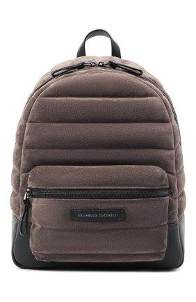Женский рюкзак BRUNELLO CUCINELLI темно-бежевого цвета, арт. MBDLD2348   Фото 1 (Материал: Натуральная кожа, Натуральная замша; Стили: Кэжуэл; Размер: medium)