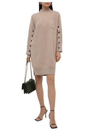 Женское кашемировое платье BRUNELLO CUCINELLI бежевого цвета, арт. M12714A94 | Фото 2 (Материал внешний: Шерсть, Кашемир; Рукава: Длинные; Длина Ж (юбки, платья, шорты): Мини; Случай: Повседневный; Кросс-КТ: Трикотаж; Женское Кросс-КТ: Платье-одежда; Стили: Кэжуэл)