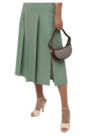 Женская сумка ophidia mini GUCCI коричневого цвета, арт. 658551/96IWG   Фото 2 (Материал: Экокожа, Текстиль; Сумки-технические: Сумки top-handle; Размер: mini)
