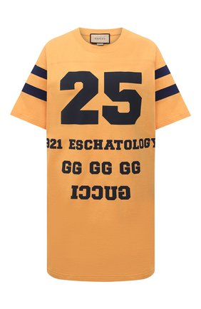 Женская хлопковая футболка GUCCI желтого цвета, арт. 660744/XJDKM | Фото 1 (Материал внешний: Хлопок; Рукава: Короткие; Стили: Спорт-шик; Женское Кросс-КТ: Футболка-одежда; Длина (для топов): Удлиненные; Принт: С принтом)