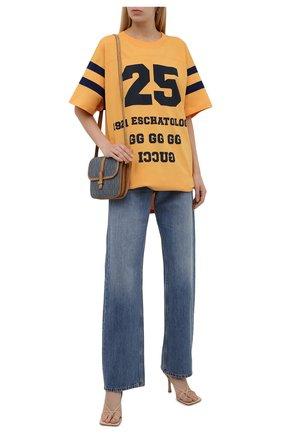 Женская хлопковая футболка GUCCI желтого цвета, арт. 660744/XJDKM | Фото 2 (Материал внешний: Хлопок; Рукава: Короткие; Стили: Спорт-шик; Женское Кросс-КТ: Футболка-одежда; Длина (для топов): Удлиненные; Принт: С принтом)
