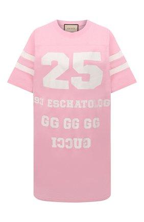 Женская хлопковая футболка GUCCI розового цвета, арт. 660744/XJDKM | Фото 1 (Материал внешний: Хлопок; Рукава: Короткие; Стили: Спорт-шик; Женское Кросс-КТ: Футболка-одежда; Длина (для топов): Удлиненные; Принт: С принтом)