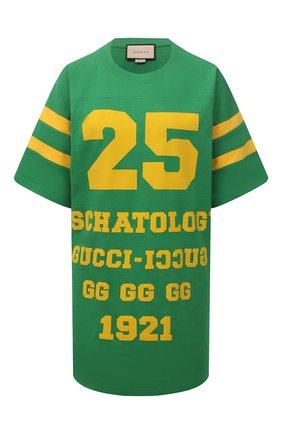 Женская хлопковая футболка GUCCI зеленого цвета, арт. 660744/XJDHG | Фото 1 (Материал внешний: Хлопок; Рукава: Короткие; Стили: Спорт-шик; Принт: С принтом; Длина (для топов): Удлиненные; Женское Кросс-КТ: Футболка-одежда)