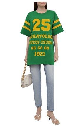 Женская хлопковая футболка GUCCI зеленого цвета, арт. 660744/XJDHG | Фото 2 (Материал внешний: Хлопок; Рукава: Короткие; Стили: Спорт-шик; Принт: С принтом; Длина (для топов): Удлиненные; Женское Кросс-КТ: Футболка-одежда)
