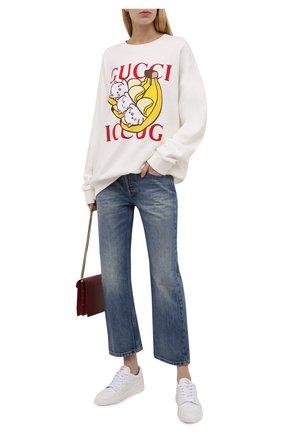 Женский хлопковый свитшот GUCCI кремвого цвета, арт. 617964/XJDGM | Фото 2 (Длина (для топов): Стандартные; Материал внешний: Хлопок; Рукава: Длинные; Женское Кросс-КТ: Свитшот-одежда; Стили: Спорт-шик)