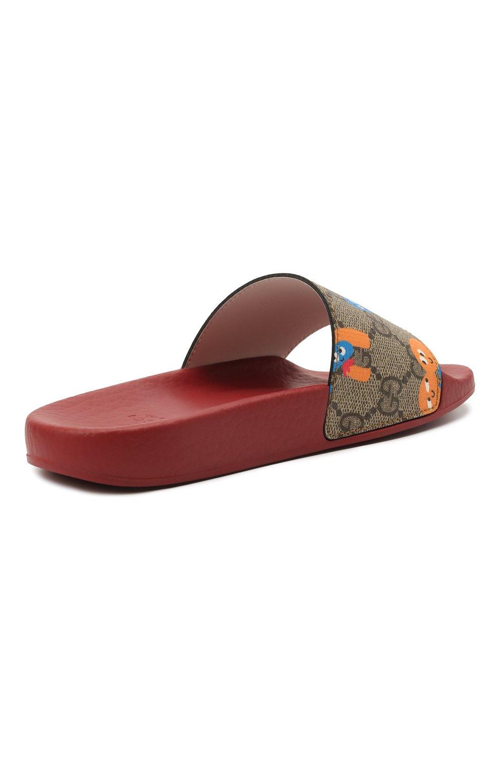 Детские шлепанцы GUCCI бордового цвета, арт. 501069/22T00   Фото 3 (Материал внешний: Экокожа; Материал внутренний: Натуральная кожа)