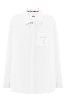 Детская хлопковая рубашка BURBERRY белого цвета, арт. 8040989 | Фото 1