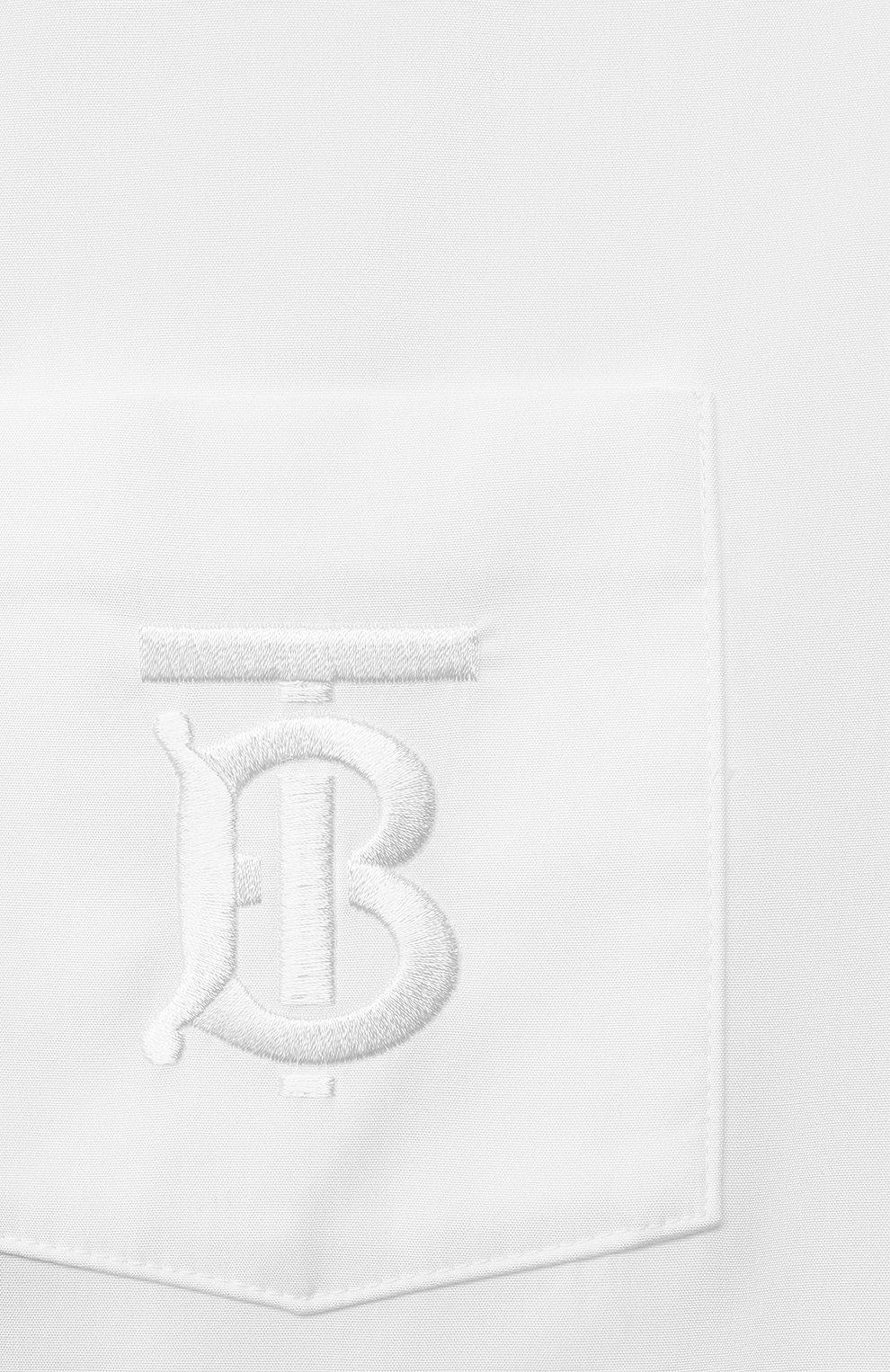 Детская хлопковая рубашка BURBERRY белого цвета, арт. 8040989 | Фото 3 (Рукава: Длинные; Принт: Без принта; Материал внешний: Хлопок; Стили: Классический; Ростовка одежда: 10 - 11 лет | 140 - 146см, 12 лет | 152 см, 16 лет | 164 см, 3 года | 98 см, 4 года | 104 см, 6 лет | 116 см, 8 лет | 128 см)