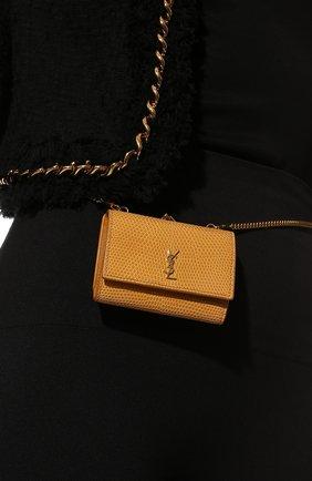 Женская поясная сумка kate SAINT LAURENT бежевого цвета, арт. 660786/LVD4J/VSAL | Фото 2 (Размер: mini; Ремень/цепочка: С цепочкой, На ремешке; Стили: Кэжуэл)