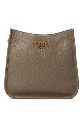 Женская сумка PRADA светло-коричневого цвета, арт. 1BC073-2BBE-F0572-DOO   Фото 1 (Материал: Натуральная кожа; Сумки-технические: Сумки через плечо; Ремень/цепочка: На ремешке; Размер: medium)