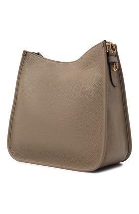 Женская сумка PRADA светло-коричневого цвета, арт. 1BC073-2BBE-F0572-DOO   Фото 2 (Материал: Натуральная кожа; Сумки-технические: Сумки через плечо; Ремень/цепочка: На ремешке; Размер: medium)